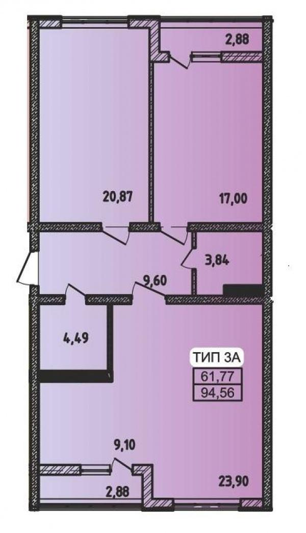 Планировки трехкомнатных квартир 94.56 м^2